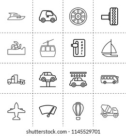 Set of 16 transport outline icons such as harvester, whell, tire, car lift, car wash, auto transmission, truck, plane, concrete mixer truck, bus, air balloon, sail boat