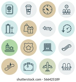 Set Of 16 Transportation Icons. Includes Suitcase, Shopping, Security Scanner And Other Symbols. Beautiful Design Elements.