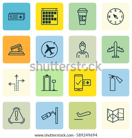 Set 16 Travel Icons Includes Hostess Stock Vector Royalty Free