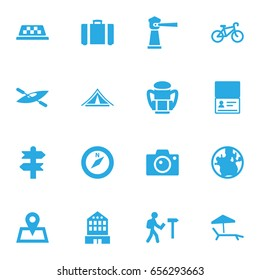 Set Of 16 Travel Icons Set.Collection Of Booth, Chaise Longue, Arrows And Other Elements.