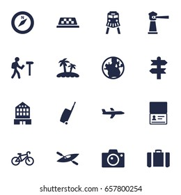 Set Of 16 Travel Icons Set.Collection Of Canoe, Seamark, Citizenship And Other Elements.