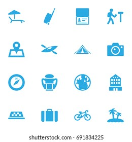 Set Of 16 Travel Icons Set.Collection Of Photo Apparatus, Canoe, Chaise Longue And Other Elements.