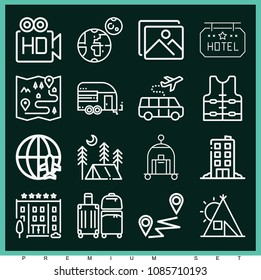 Set of 16 travel outline icons such as trailer, map, photo, high definition, earth, lifejacket, distance, tent, hotel, luggage, baggage, travel