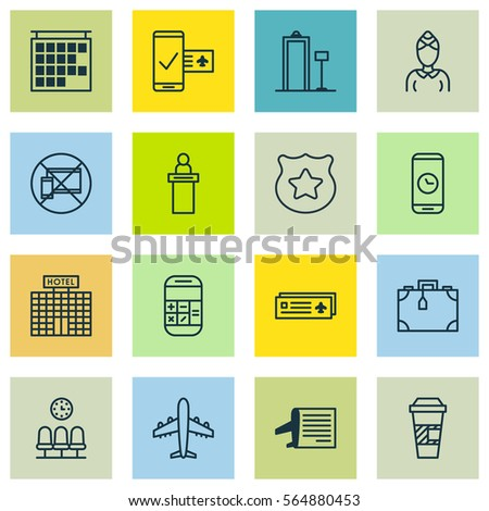 Set 16 Traveling Icons Includes Hostess Stock Vector Royalty Free