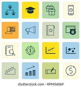 Set Of 16 Universal Editable Icons For Travel, Education And Project Management Topics. Includes Icons Such As Graduation, Warranty, Money Trasnfer And More.