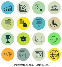 Set Of 16 Universal Editable Icons For Transportation, SEO And School Topics. Includes Icons Such As Tournament, Presentation, Successful Investment And More