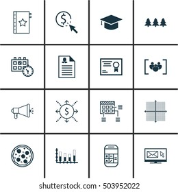 Set Of 16 Universal Editable Icons. Can Be Used For Web, Mobile And App Design. Includes Icons Such As Appointment, Certificate, Newsletter And More.