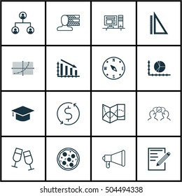 Set Of 16 Universal Editable Icons. Can Be Used For Web, Mobile And App Design. Includes Icons Such As Road Map, Measurement, Circle Graph And More.