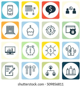 Set Of 16 Universal Editable Icons. Can Be Used For Web, Mobile And App Design. Includes Icons Such As Tree Structure, Phone Conference, Market Research And More.