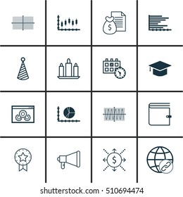 Set Of 16 Universal Editable Icons. Can Be Used For Web, Mobile And App Design. Includes Icons Such As Square Diagram, Announcement, Circle Graph And More.
