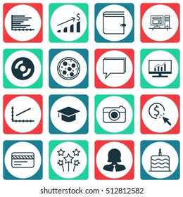Set Of 16 Universal Editable Icons. Can Be Used For Web, Mobile And App Design. Includes Icons Such As Market Research, PPC, Bars Chart And More.