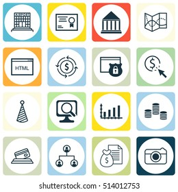 Set Of 16 Universal Editable Icons. Can Be Used For Web, Mobile And App Design. Includes Icons Such As Education Center, Report, Airport Construction And More.