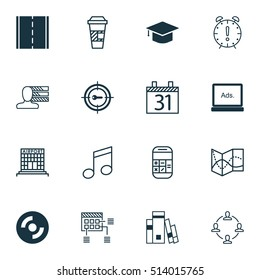 Set Of 16 Universal Editable Icons. Can Be Used For Web, Mobile And App Design. Includes Icons Such As Personal Skills, Library, Schedule And More.