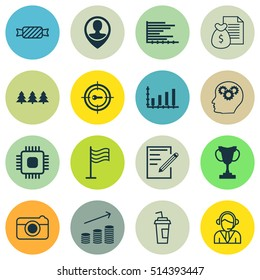 Set Of 16 Universal Editable Icons. Can Be Used For Web, Mobile And App Design. Includes Icons Such As Pin, Tournament, Brain Process And More.