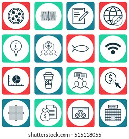 Set Of 16 Universal Editable Icons. Can Be Used For Web, Mobile And App Design. Includes Icons Such As Pizza Meal, Wireless, Fishing And More.