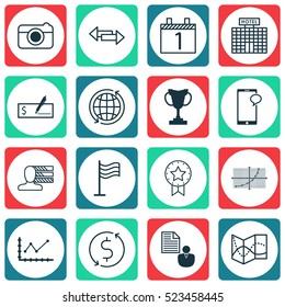 Set Of 16 Universal Editable Icons. Can Be Used For Web, Mobile And App Design. Includes Elements Such As Messaging, Crossroad, Road Map And More.