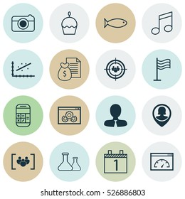 Set Of 16 Universal Editable Icons. Can Be Used For Web, Mobile And App Design. Includes Elements Such As Website Performance, Questionnaire, Street And More.