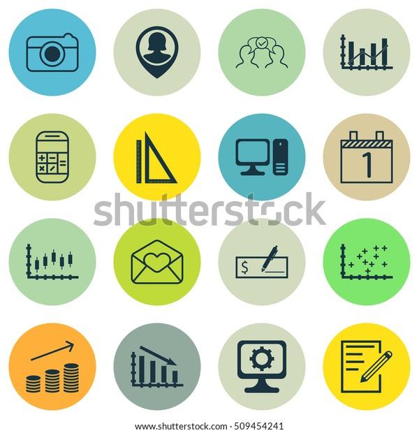 Set 16 Universal Editable Icons Can Stock Vector (Royalty