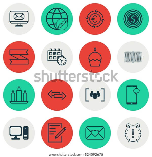 Set Of 16 Universal Editable Icons. Can Be Used For Web, Mobile And App Design. Includes Elements Such As Time Management, Appointment, Celebration Letter And More.