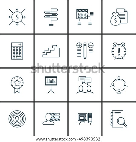 Set 16 Universal Icons On Investment Stock Vector (Royalty