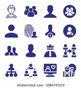 Set of 16 user filled icons such as multiple users silhouette, group, user, male, user shape, teamwork, engineer, worker, hierarchy structure, leadership, computer