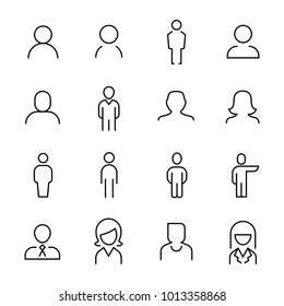 Set of 16 user thin line icons. High quality pictograms of person. Modern outline style icons collection. People, avatar, business, human, etc.