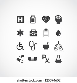 Set of 16 various medical icons. Simple clearly defined shapes in one color.