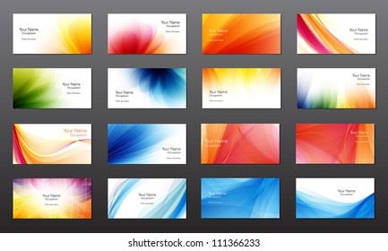Set of 16 vector abstract bright business card / banner design templates