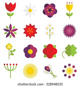 Set of 16 vector flat floral icons.