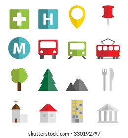 Set of 16 vector flat icons with transportation, objects and monuments symbols.