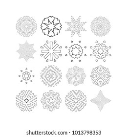 Set of 16 vector Flower mandala elements. Various round ornaments of small size for logo and icon design, ornamental prints for coloring book pages