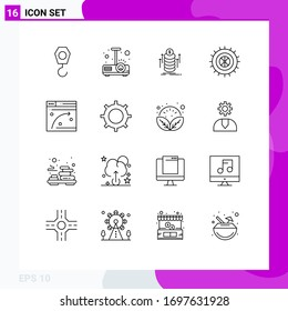 Set of 16 Vector Outlines on Grid for hosting; web page; bundle; web; tire Editable Vector Design Elements
