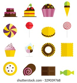 Set of 16 vector sweets icons in flat design