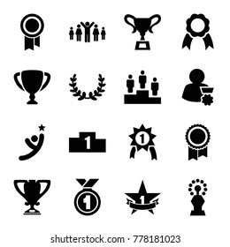 Set of 16 victory filled icons such as ribbon, trophy, ranking, 1st place star, olive wreath, group of people and man celebrating victory, man with medal, number 1 medal