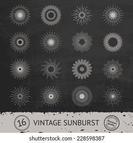 Set of 16 vintage handdrawn sunbursts in different shapes