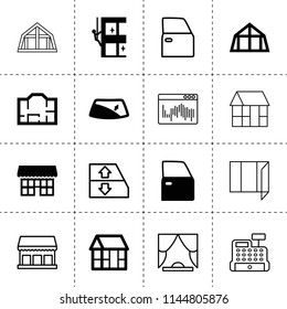 Set of 16 window filled and outline icons such as car door, window repair, skycrapers cleaning, frame house, plan, mansard roof, store, curtain, cashbox