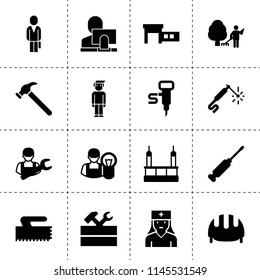 Set of 16 worker filled icons such as work tool, car service, skycrapers cleaning, user and computer, businessman, garden cleaner, car mechanics, car electrician, work helmet