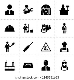 Set of 16 worker filled icons such as businessman, skycrapers cleaning, car mechanics, floor wash, cleaner woman, maid, road working sign, safety helmet, screwdriver, woman