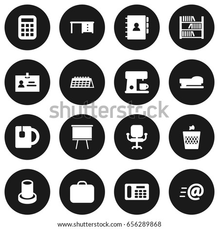 Set 16 Workspace Icons Set Collection Blackboard Stock Vector