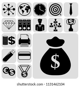 Set of 17 business high quality symbols. Collection. Detailed design. Vector Illustration.