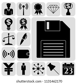 Set of 17 business high quality icons or symbols. Collection. Flat design. Vector Illustration.