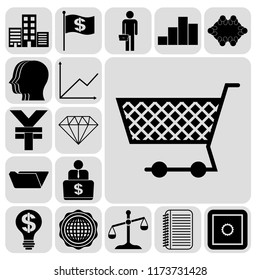 Set of 17 business high quality icons. Collection. Flat design. Vector Illustration.