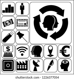 Set of 17 business high quality symbols. Collection. Amazing desing. Vector Illustration.