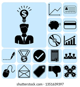 Set of 17 business icons. Collection. Flat design. Vector Illustration.