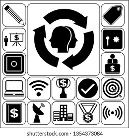 Set of 17 business icons or symbols. Collection. Detailed design. Vector Illustration.