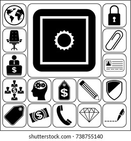 Set of 17 business related icons. Collection. Flat design. Vector Illustration.