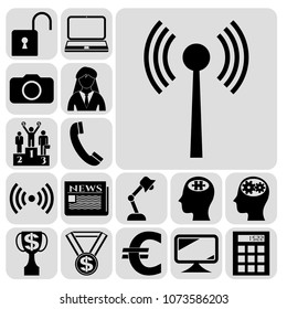 Set of 17 business symbols of icons. Collection. Detailed design. Vector Illustration.