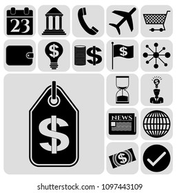 Set of 17 business symbols of icons. Collection. Flat design. Vector Illustration.