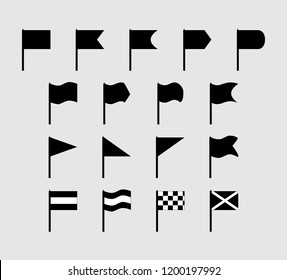 Set of 17 silhouette flat flags of various shapes and configurations.