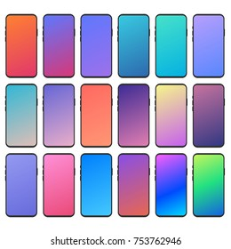 Set of 18 abstract backgrounds with gradients for mobile app design ideas. You can prototype and design  your new app design with them. Vector user interface elements.